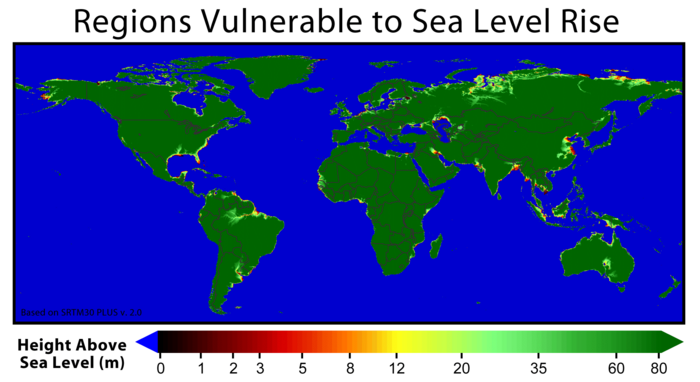 Sb Sea Level Rise - Projected sea level rise map